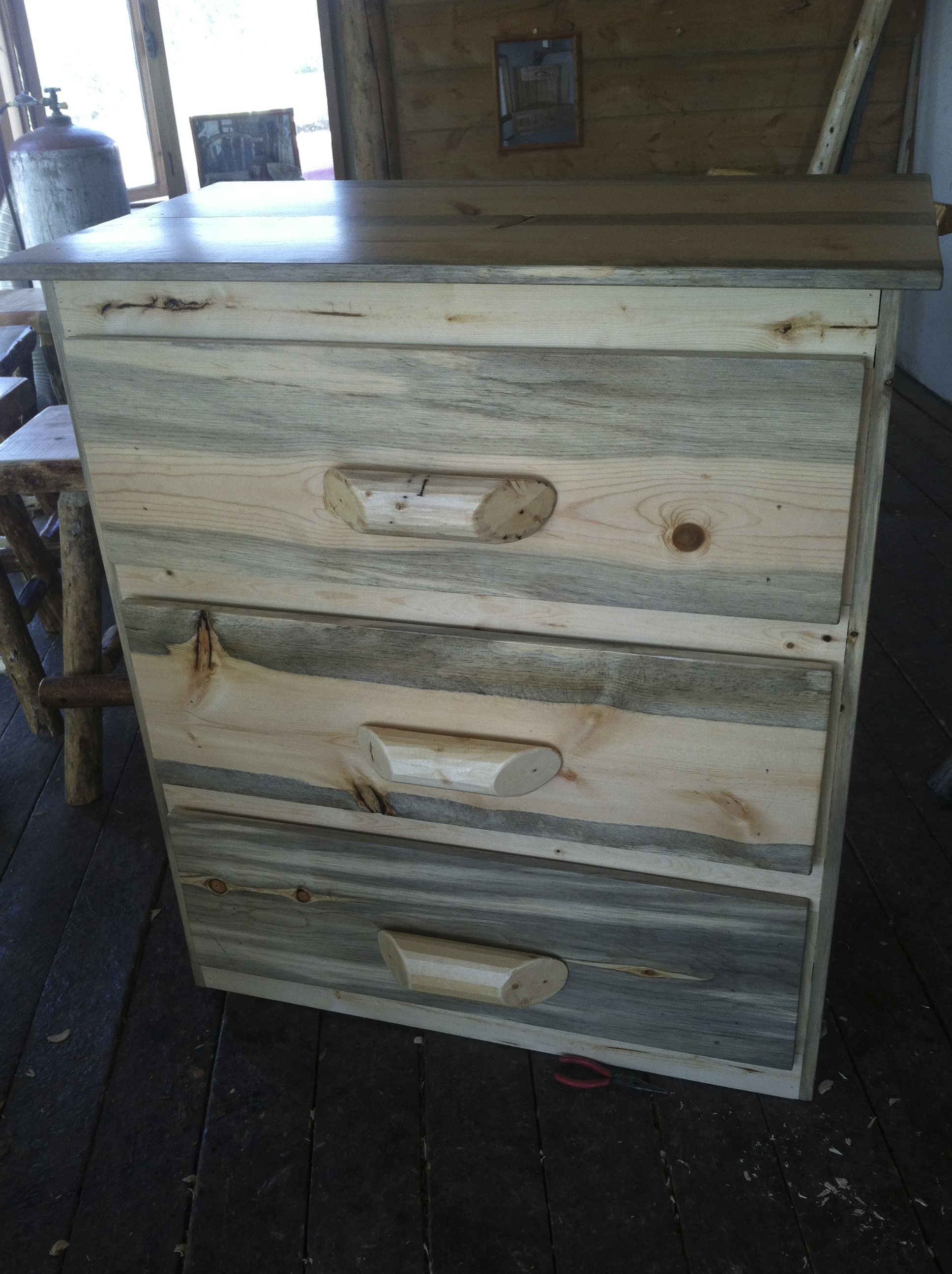 Rustic Stacked Blue Stain Dresser
