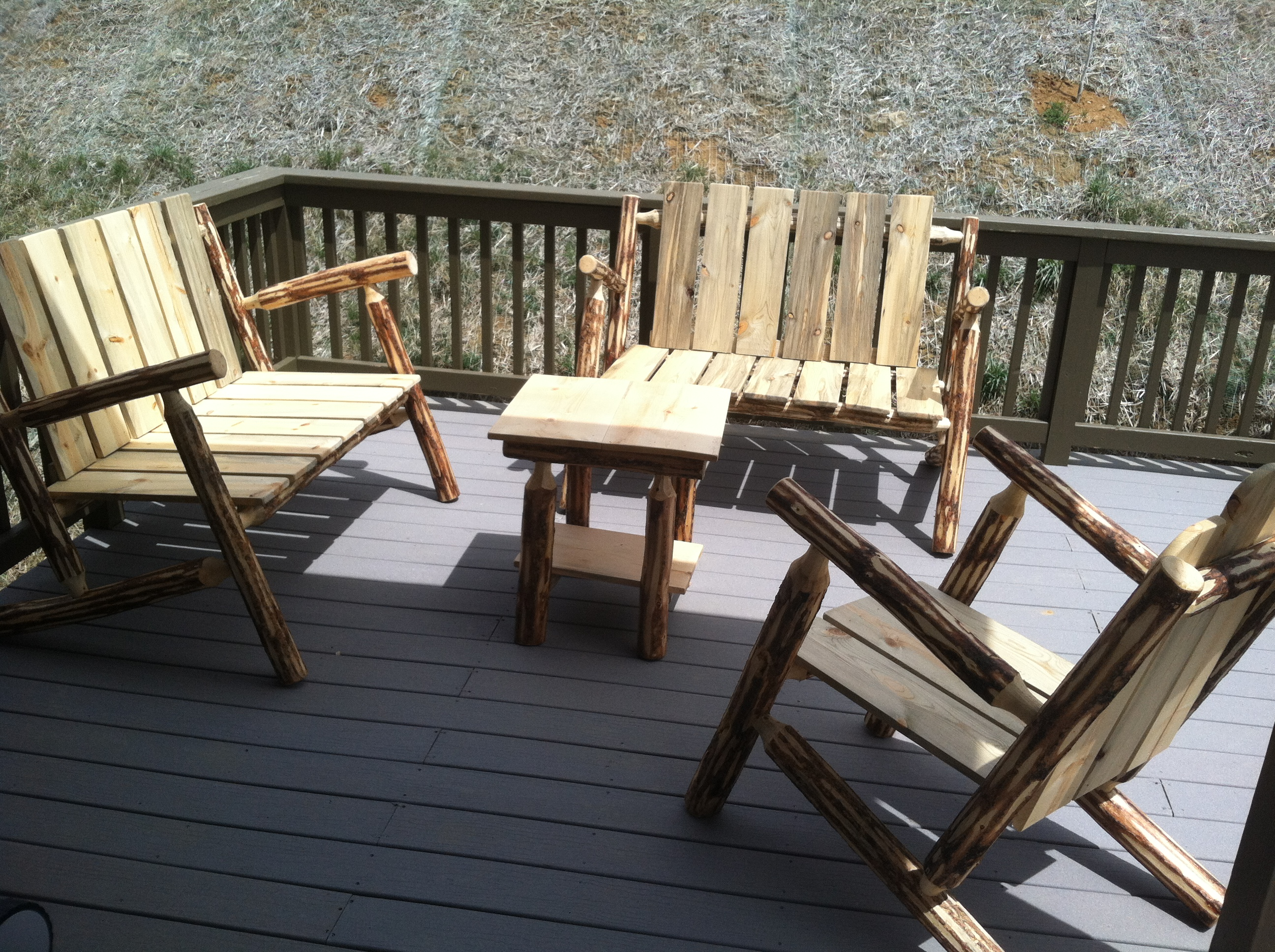 pine Adirondack chairs, lounges